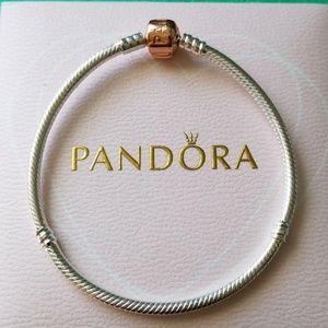 Authentic pandora rose gold charm bracelet